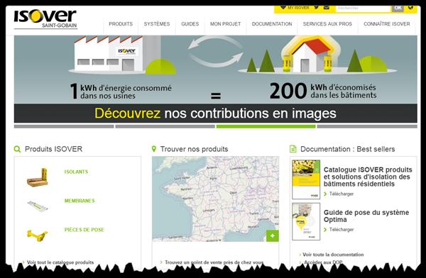 La page d'accueil du site web B2B ISOVER