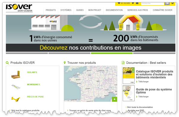 Pagina de start a site-ului B2B Isover'accueil du site web B2B ISOVER