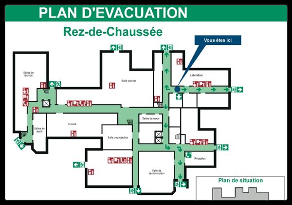 Exemplu de plan de evacuare a clădirii - Sursa: Alertis.fr'évacuation d'un bâtiment - source : alertis.fr