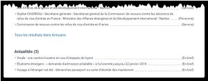 Les actualités apparaissent au bas des résultats de recherche sur servicepublic.fr