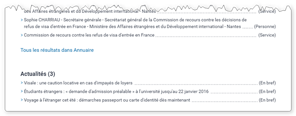 Știrile apar în partea de jos a rezultatelor căutării pe servicePublic.fr