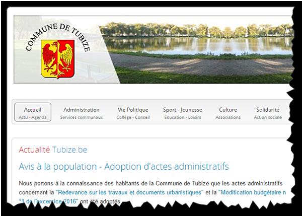 Les actualités de la commune de Tubize en Belgique