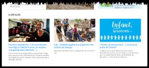 Les actualités en page d'accueil de l'UNICEF