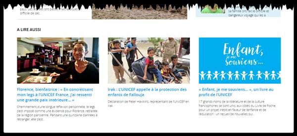 Știri pe pagina de pornire a UNICEF'accueil de l'UNICEF