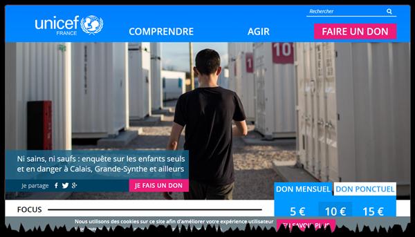 Pagina de start a site-ului UNICEF este orientată către'accueil du site web de l'UNICEF est orientée vers l'action
