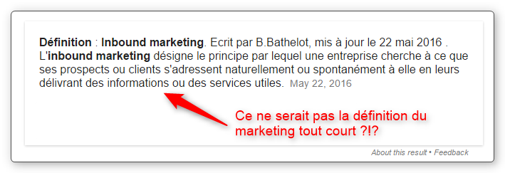 Inbound marketing : une définition que je trouve inconsistante