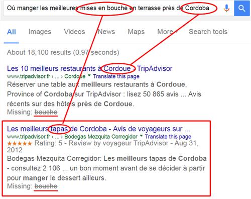 Google fait appel à la sémantique et comprend le sens sans que les mots clés n'apparaissent dans la requête