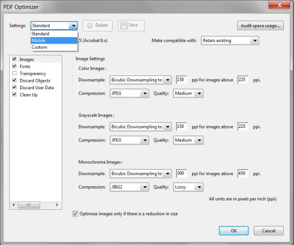 Optimisation du poids des PDF pour le Web