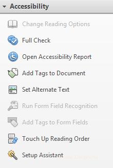 Fonctions d'accessibilité d'Adobe Acrobat Pro