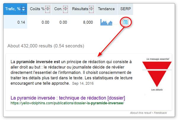 SEMrush - prévisualisation de la SERP pour identifier une Position #0