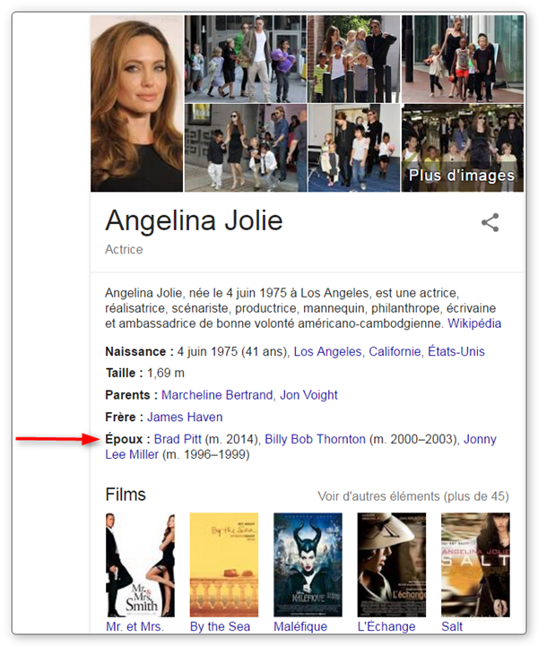 L'info au sein de la Knowledge Card est extraite du Knowledge Graph