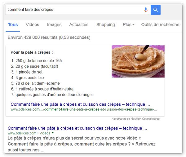 Position #0 sur Google - exemple avec liste numérotée