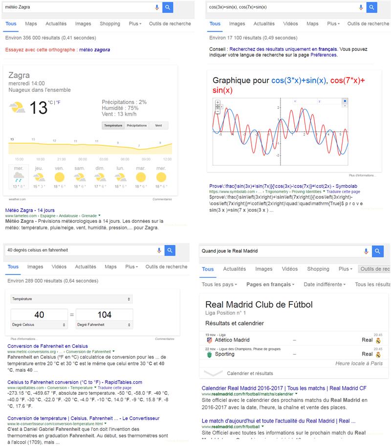 Exemples de Quick Answers sur la SERP de Google
