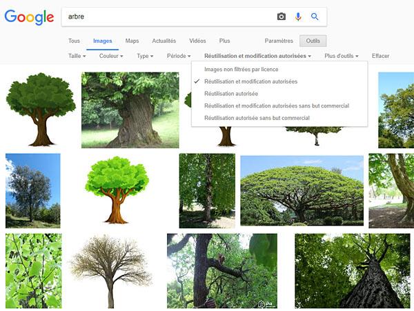 """Le filtre """"Droits d'usage"""" sur Google Images permet de sélectionner des images à license libre de droits"""