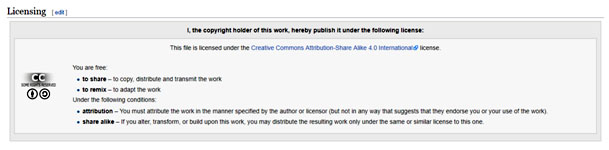 Wikimedia spécifie le type de licence pour chaque image