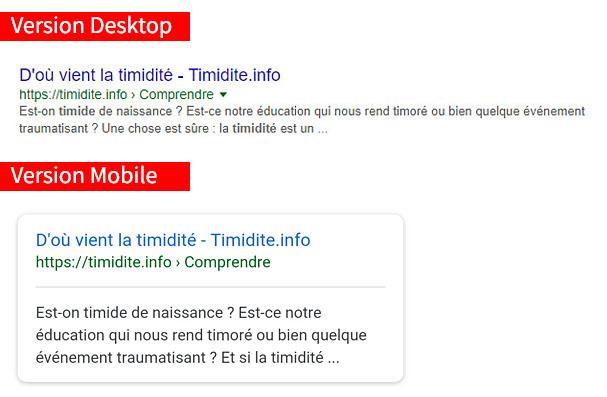 Comparaison des métadonnées entre mobile et desktop