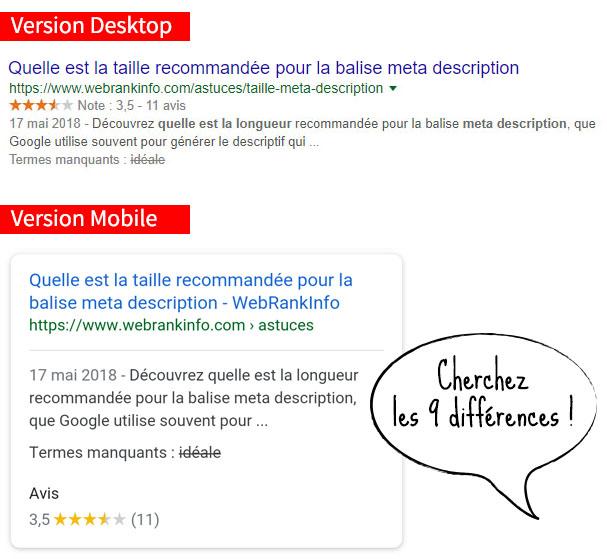 Différences entre desktop et mobile concernant l'affichage des métadonnées (snippets)
