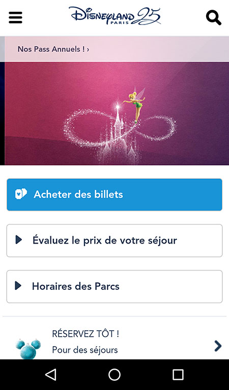 Le site Disneyland en version mobile, très orienté sur l'action