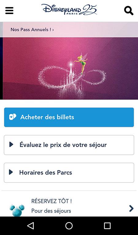 Le site Disneyland en version mobile, très orienté sur l'action