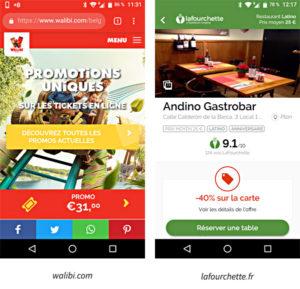Les promotions en version web mobile