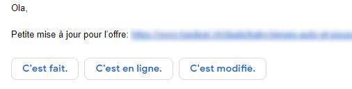 """Ecriture """"bouton"""" déployée par Google sur Gmail"""