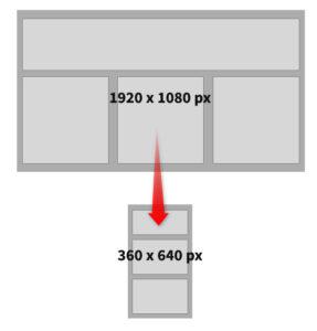 Comparaison de l'espace pixel disponible entre les versions desktop et mobile