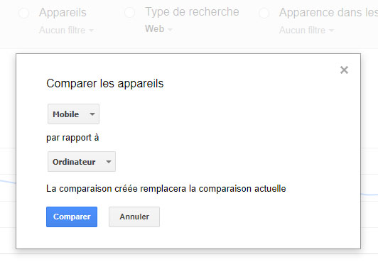 Google Search Console : la comparaison du trafic desktop et mobile