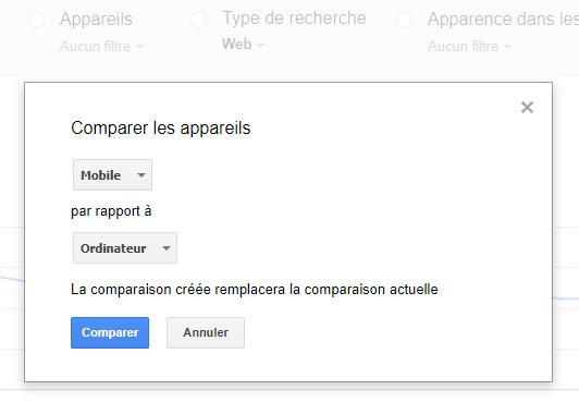 Google Search Console : la comparaison du trafic desktop et mobile