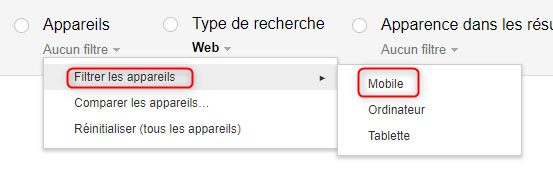 Google Search Console : le filtre sur le trafic mobile