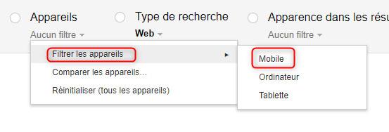 Google Search Console : le filtre sur le trafic mobile