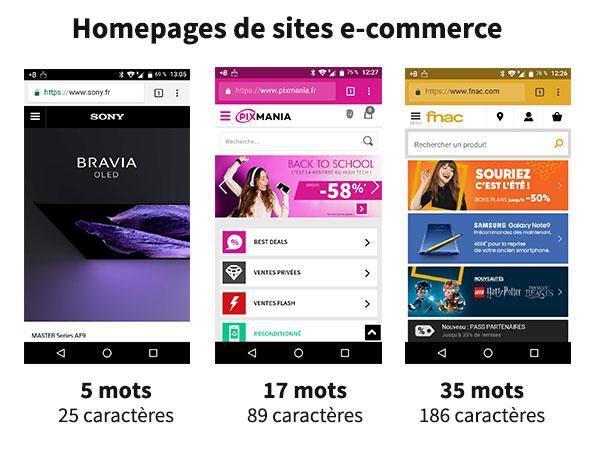 Homepages de sites e-commerce en version mobile