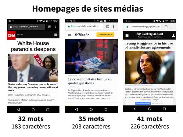 Homepages de sites médias en version mobile