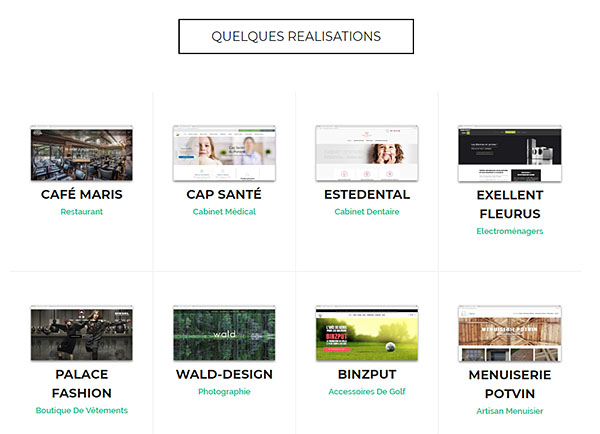 Exemple de portfolio en ligne en version desktop
