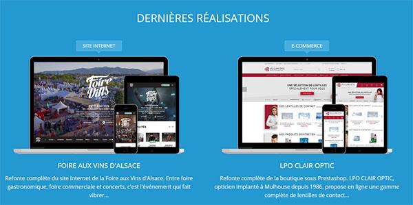 Portfolio d'une agence qui met en avant les productions desktop, mais aussi les interfaces mobiles