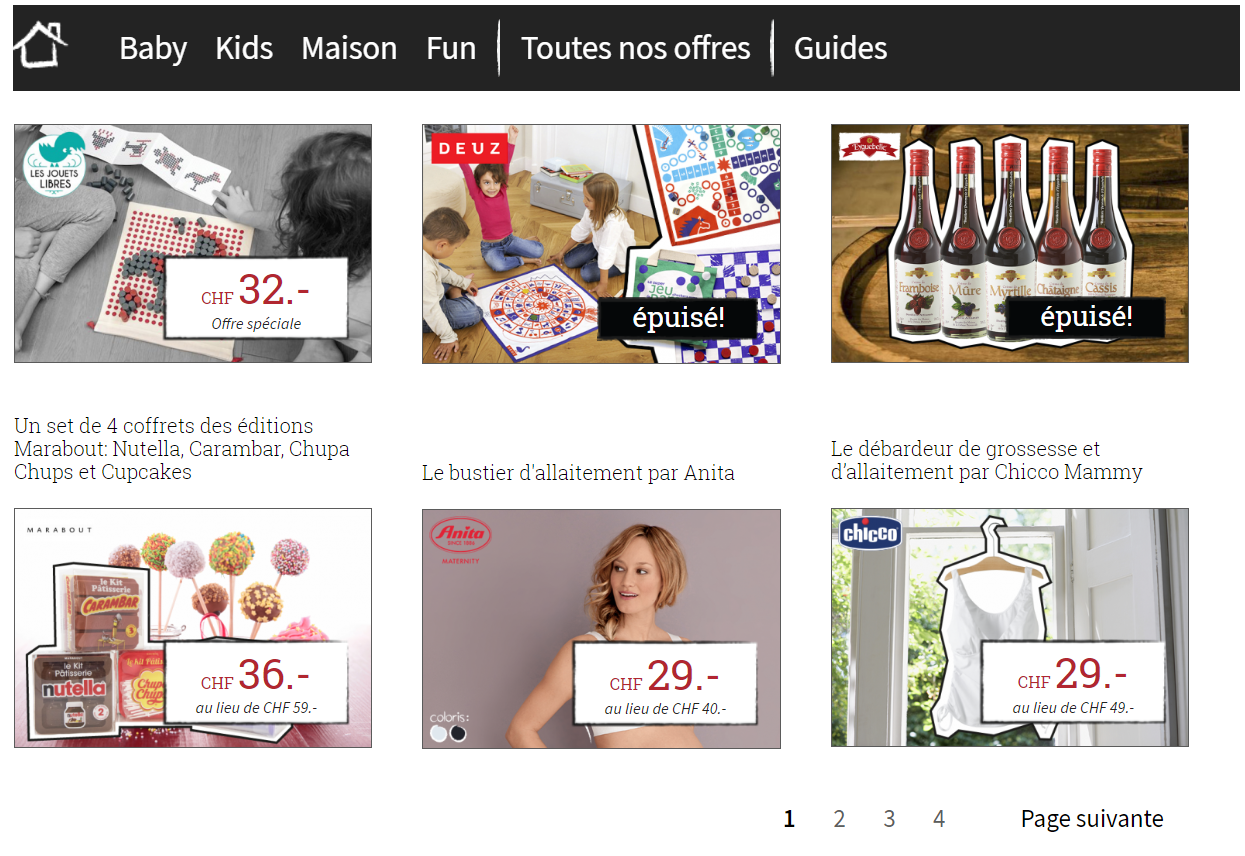 Interface et pagination site e-commerce